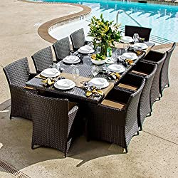 Lakeview Outdoor Designs Avery Island 10 Person Resin Wicker Patio Dining Set with Extension Table, Espresso