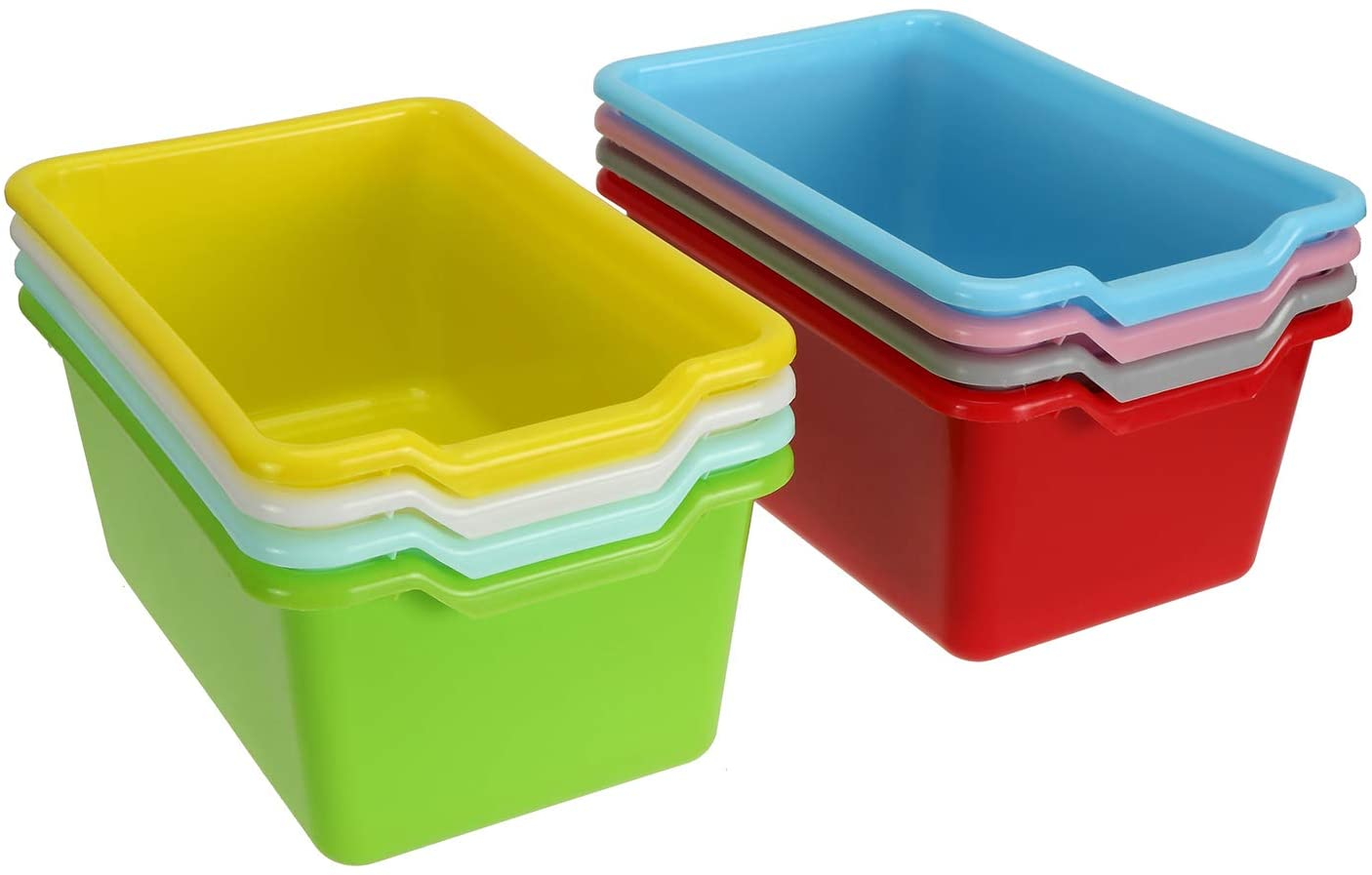 WUWEOT 8 Pack Scoop-Front Storage Bins, Easy-to-Grip Design Multipurpose Stackable Plastic Storage Cubbies for Classroom, Nursery, Playrooms and Home Organization