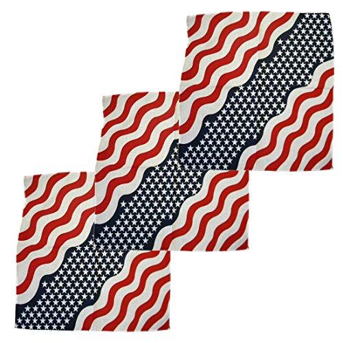 Cotton Wavy American Flag - Set of 3 Large Cotton Bandanas -Wavy American Flag