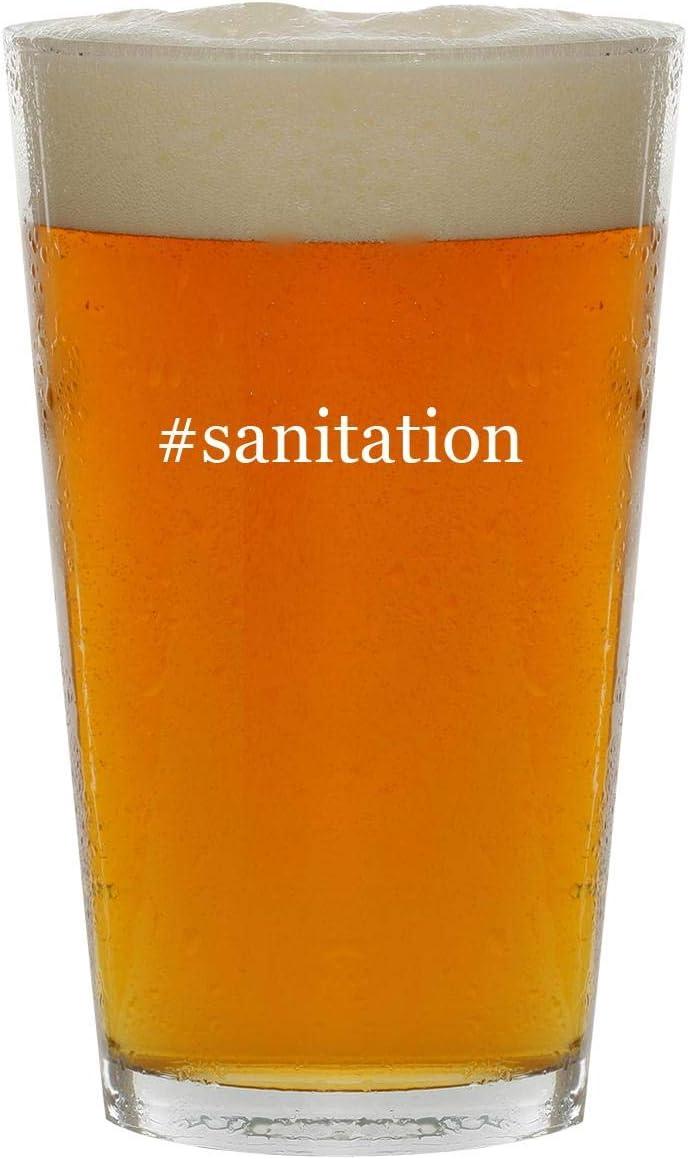#sanitation - 16oz Hashtag Clear Glass Beer Pint Glass