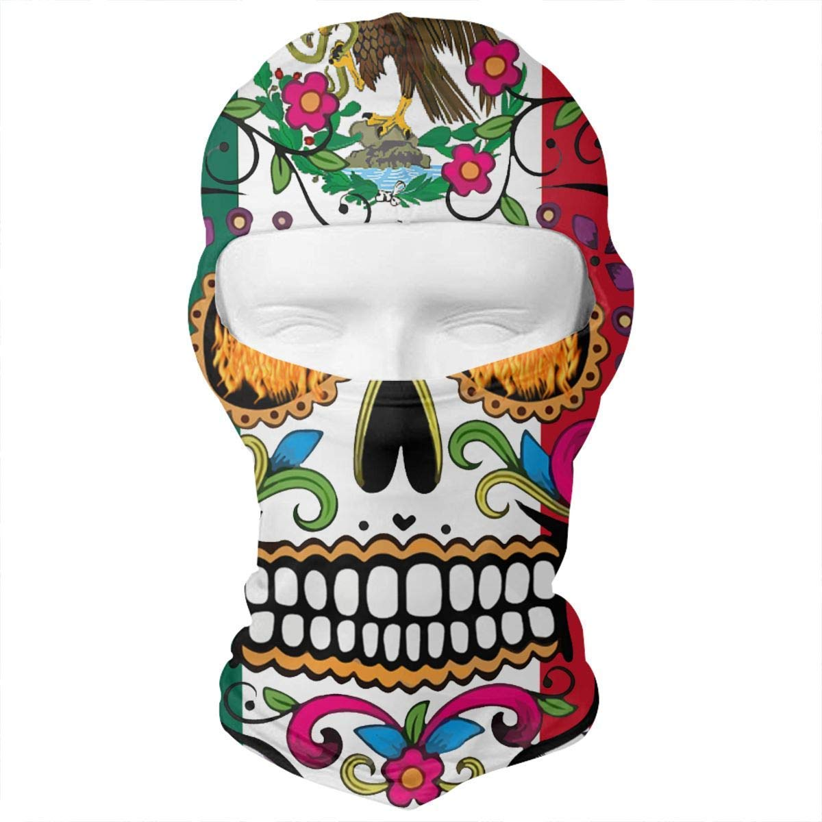 dfegyfr Mexico Flag Detailed Mexican Sugar Skull Vintage Balaclava UV Protection Windproof Ski Face Masks for Cycling Outdoor Sports Full Face Mask Breathable