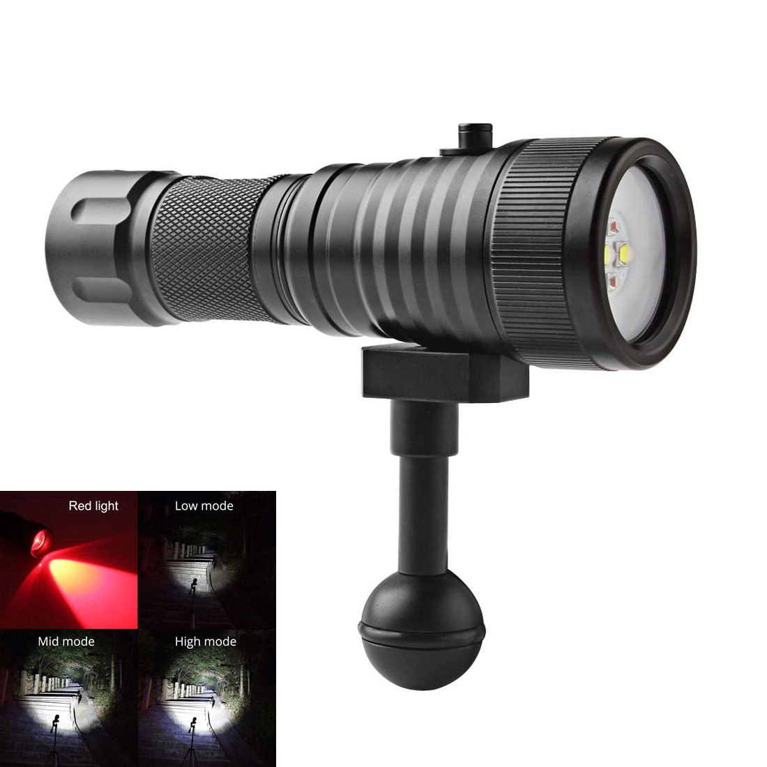 SecurityIng Wide 120 Degrees Beam Angle Scuba Diving Photography Video Flashlight 1500LM with 2 x Cree XM-L2(U4) White Light + 2 x XP-E R5 Red LED(Battery Not Included)