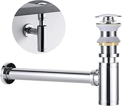 Universal Ablaufgarnitur ohne Überlauf POP UP Waschbecken Abfluss Siphon Stöpsel