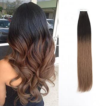 Amazoncom Sassina Real Human Hair Tape In Extensions Two Tone