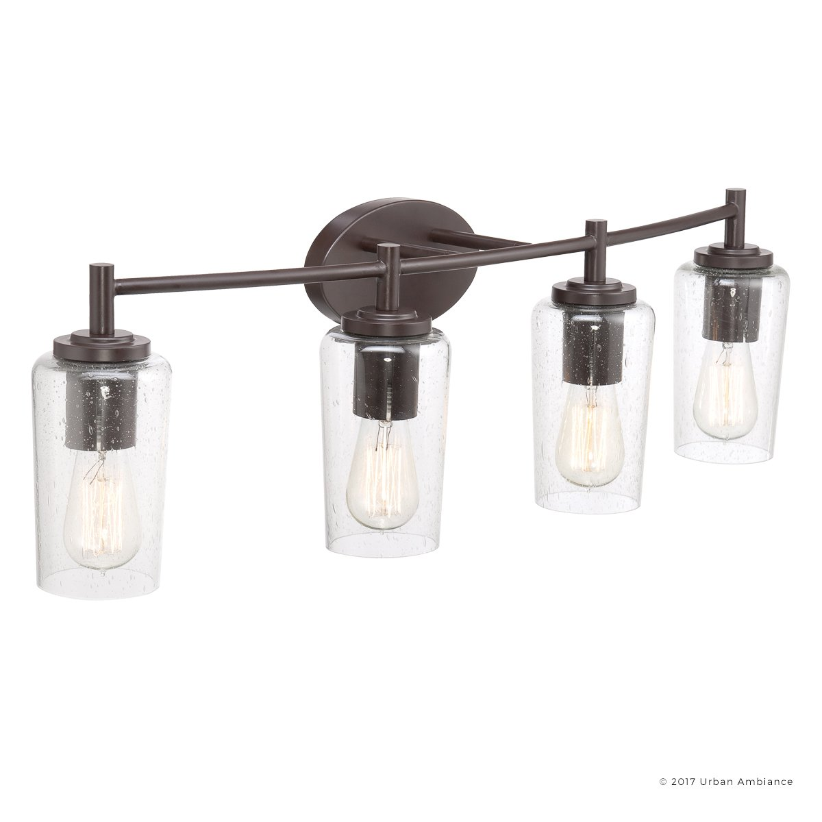 Luxury Vintage Bathroom Vanity Light, Large Size: 10''H x 32.5''W, with Antique Style Elements, Elegant Estate Bronze Finish and Seeded Glass, Includes Edison Bulbs, UQL2273 by Urban Ambiance