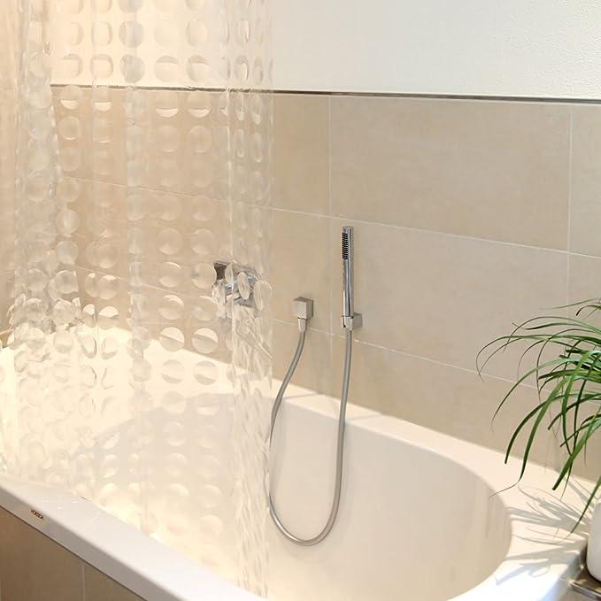 decorazione motivo cerchi 3D Duschy dimensioni 180 x 200 cm. tenda trasparente per doccia