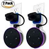 Echo Dot Wall Mount Case Holder Stand for Alexa Dot 2nd/Echo Dot Kids Edition TOOVREN Space-Saving Hanger for Smart Speaker - Short Charging Cable Included (2 Pack)
