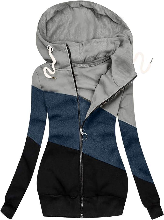 Women's Turtleneck Hooded Fashion Solid Jacket Zipper Pocket Sweatshirt Long Sleeve Coats Plus Size S-3X