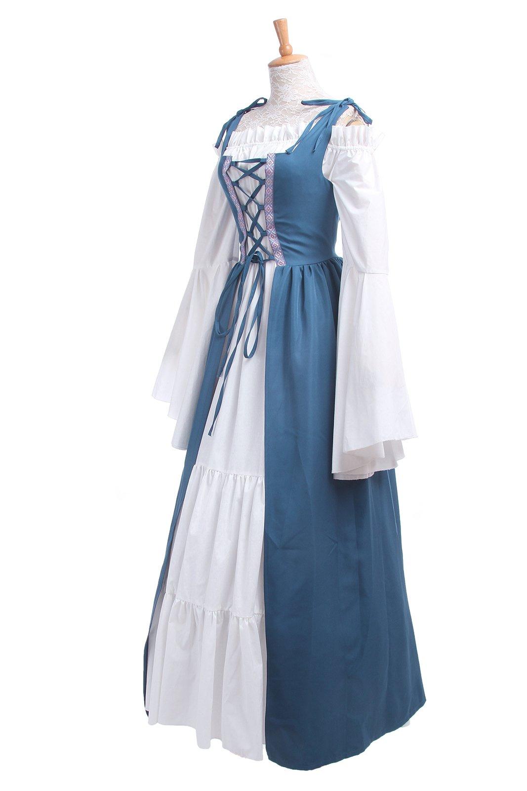 ROLECOS Womens Renaissance Medieval Irish Costume Boho Underdress Overdress Coat Light Blue L by ROLECOS (Image #5)