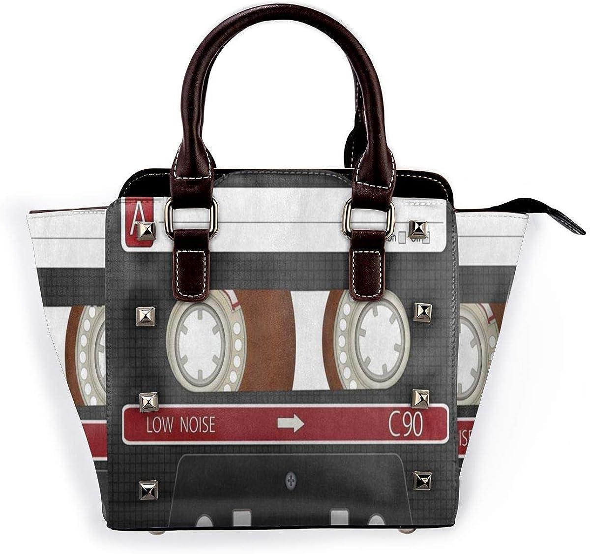 Tote Bag Audio Cassette Tape Music Shoulder Bag 3d Printed Non-Fading Handbags WomenS Waterproof Handle Bag Durable Multi-Functional Crossbody Travel Bag With Strap Zipper