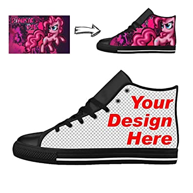 f03e7b1391a2 Vangona Personalized Image Text Women s Canvas Sneaker High-Tops Add Your  Own Custom Design Black