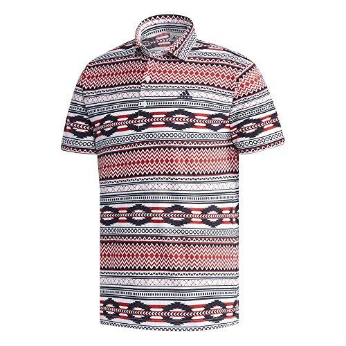 アディダス Adidas 半袖シャツ?ポロシャツ サッカープリント 半袖ワイドカラーポロシャツ レッド M