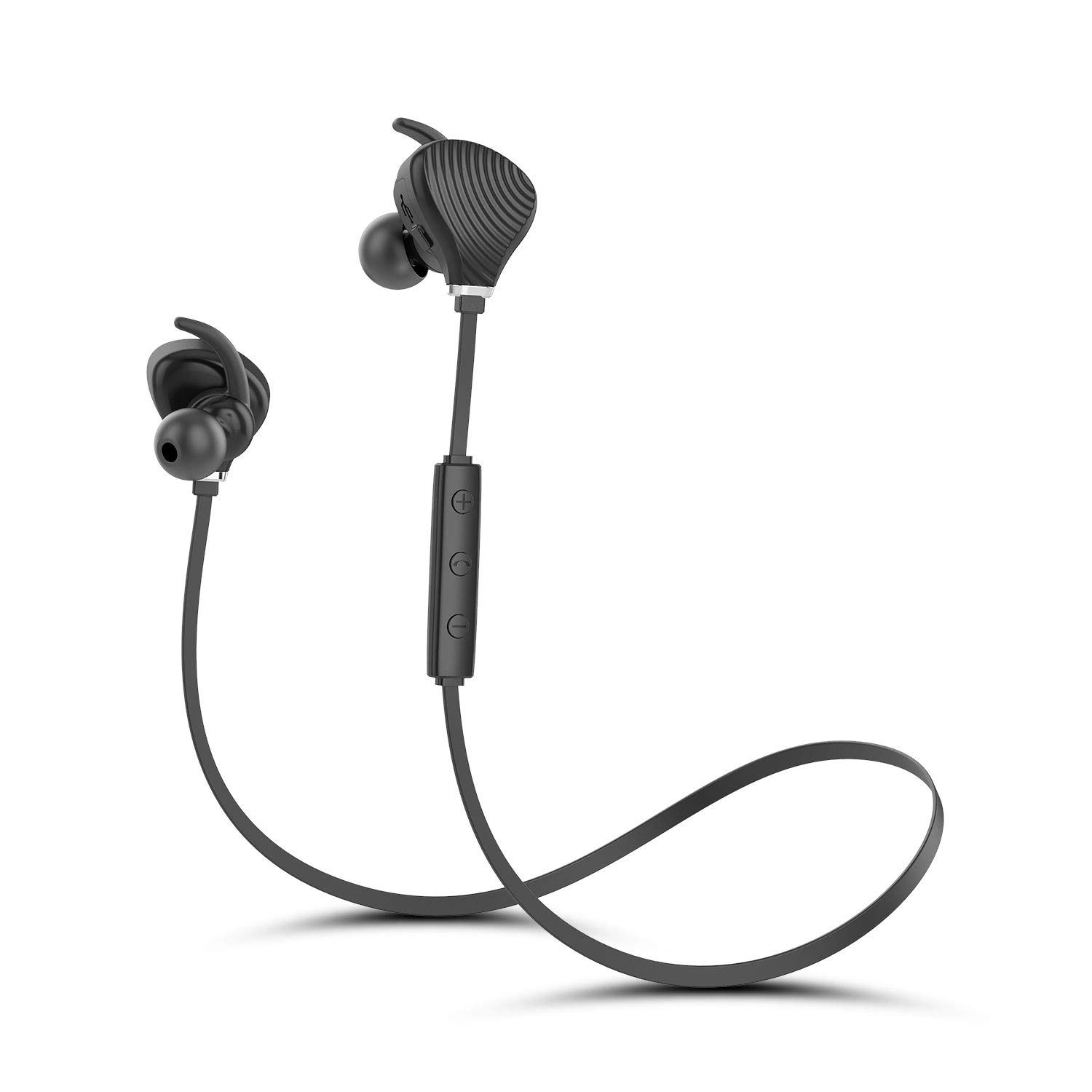 Bluetooth Headphones, Best Wireless Sports Earphones w Mic HD Stereo Sweatproof Earbuds Noise Cancelling Headsets for Gym Running Workout 8 Hour Battery Black