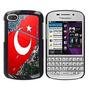 - Turkish flag - - Monedero pared Design Premium cuero del tir¨®n magn¨¦tico delgado del caso de la cubierta pata de ca FOR BlackBerry Q10 Funny House