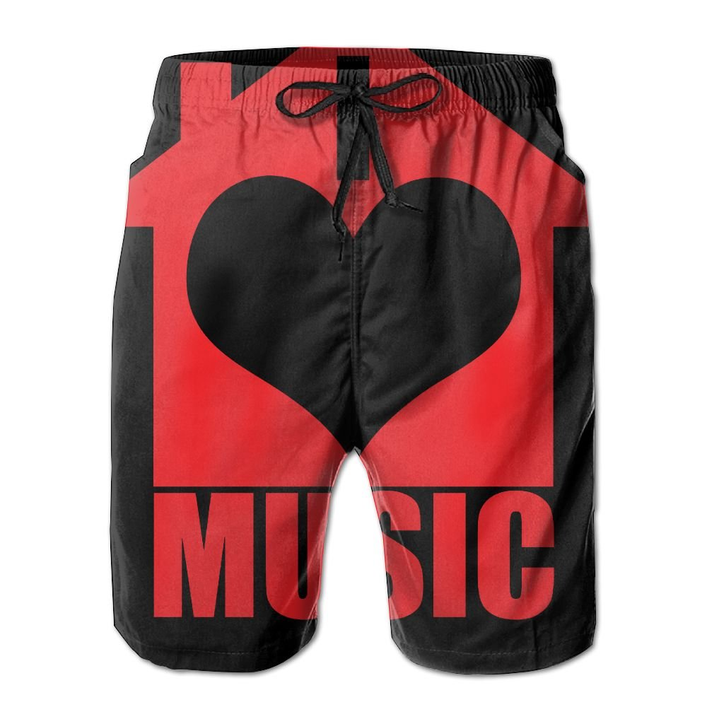 I Love House Music Mens Beach Shorts Elastic Waist Pockets Lightweight Swimming Board Short Quick Dry Short Trunks
