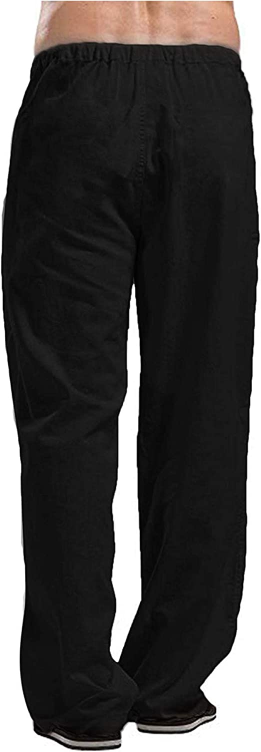 Oyamiki Mens Linen Cotton Beach Pants Casual Summer Elastic Waist Loose Trousers Cargo Beach Pant