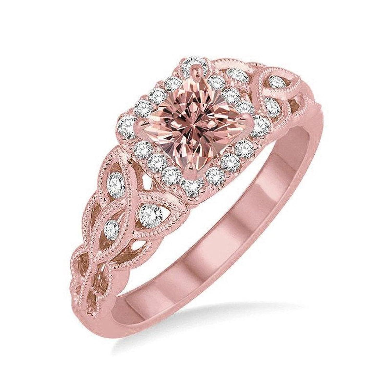 Antique 1.25 Carat Princess cut Morganite and Diamond Wedding Ring ...