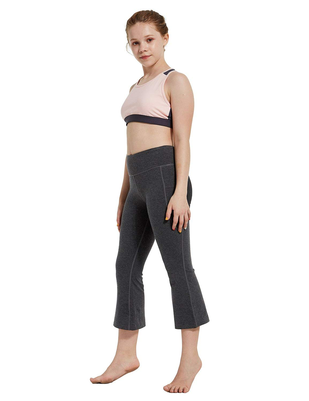 Baleaf Girl's Dance Capri Pants Flare Volleyball Yoga Tight Bootleg Crop Charcoal M by Baleaf