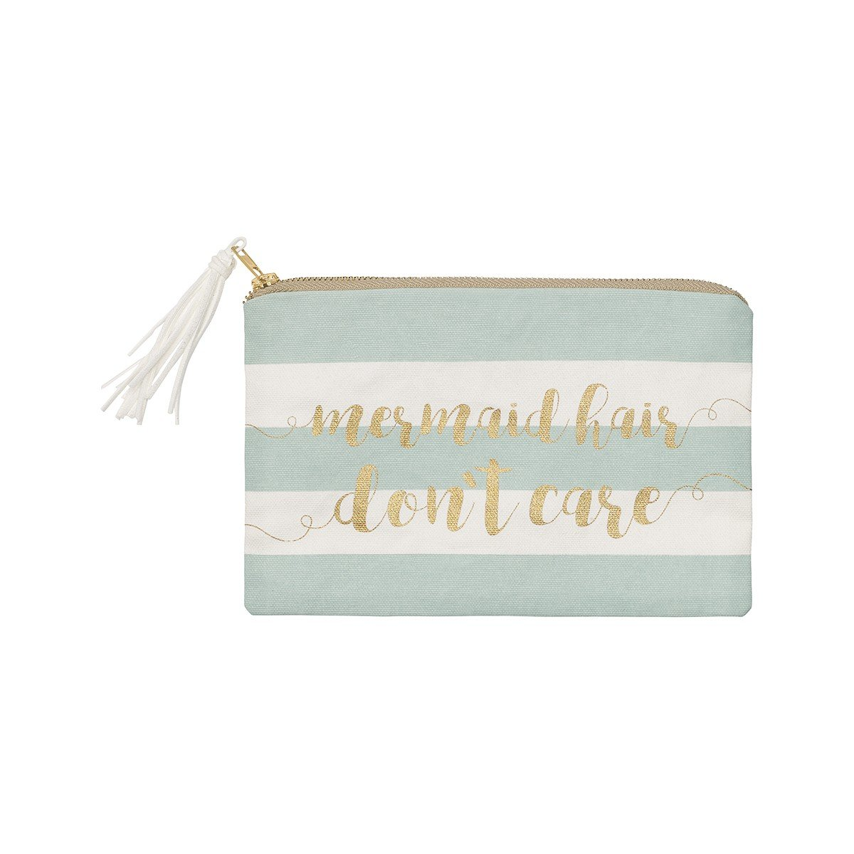 Collins Canvas Mermaid Hair Don't Care Striped Zippered Makeup Cosmetic Bag