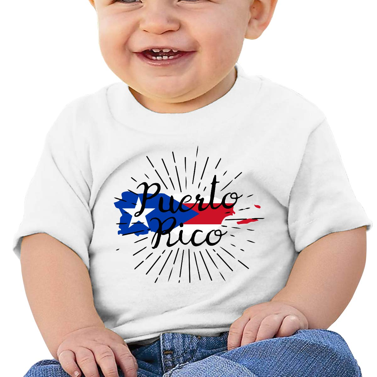 Puerto Rico Baby Boys Girls Short Sleeve Crew Neck Tee Shirt 6-18 Month Tops