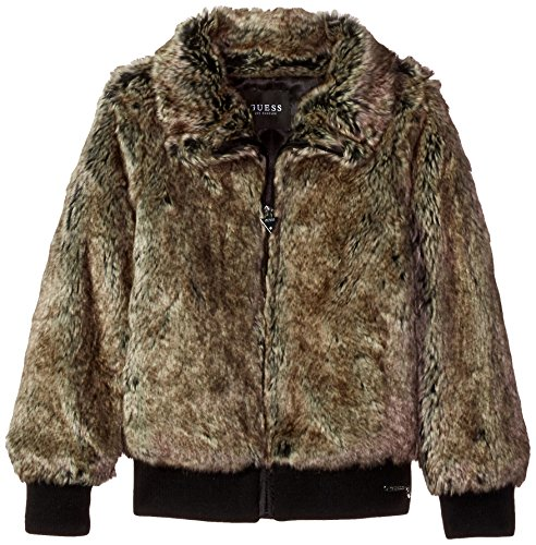 Price comparison product image GUESS Big Girls' Faux-Fur Jacket, Turtle Dove Multi, 14
