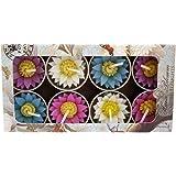 Hana Bougies chauffe-plat en forme de fleurs faites à la main Issu du commerce équitable Parfum Fleur de Lys Plusieurs designs et couleurs - Coffret cadeau Lot de 8