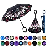 MRTLLOA Double Layer Inverted Umbrella with C-Shaped Handle, Anti-UV Waterproof Windproof Straight Umbrella for Car Rain Outdoor Use (N-Flowers)
