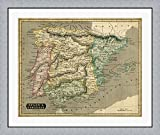 Thomson's Map of Spain & Portugal by John Thomson Framed Art Print Wall Picture, Flat Silver Frame, 38 x 32 inches