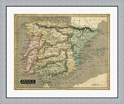 Thomson's Map of Spain & Portugal by John Thomson Framed Art Print Wall Picture, Flat Silver Frame, 38 x 32 inches by Great Art Now