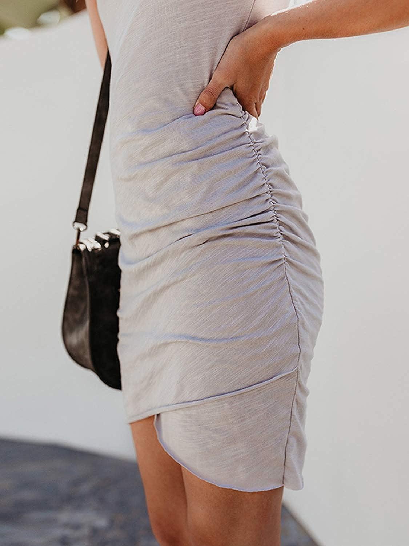 FStory/&Winyee Damen Sommerkleid Rundhals Enges Kleid Kurzarm Minikleider Business /Ärmellos Kleid Bodycon Etuikleid Elegant Unregelm/ä/ßig
