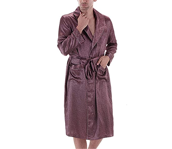 7327790cfb Male Spring Autumn Dressing Gown Mens Paisley Bath Robe Silk Robe Satin  Bathrobe Noble Men Home