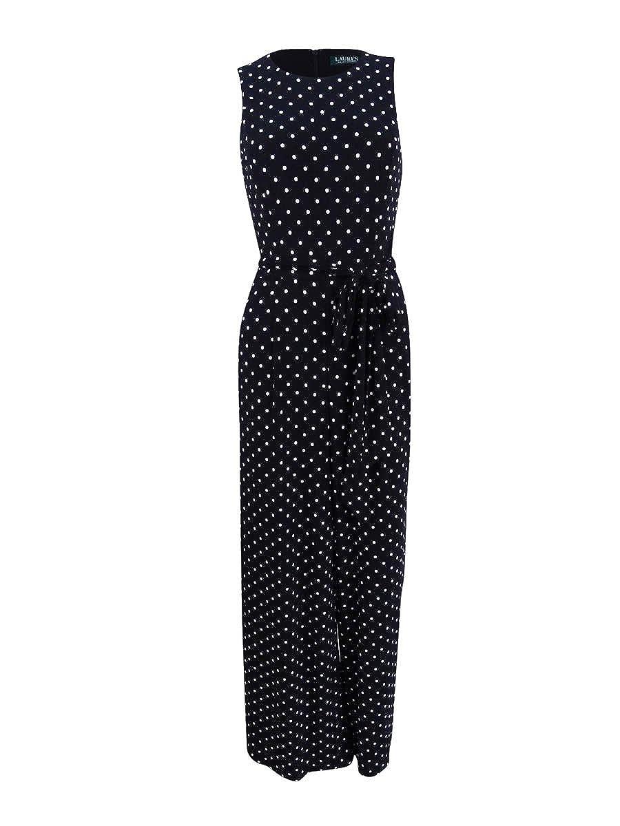cede03da211d Amazon.com  Lauren Ralph Lauren Womens Matte Jersey Polka Dot Jumpsuit   Clothing