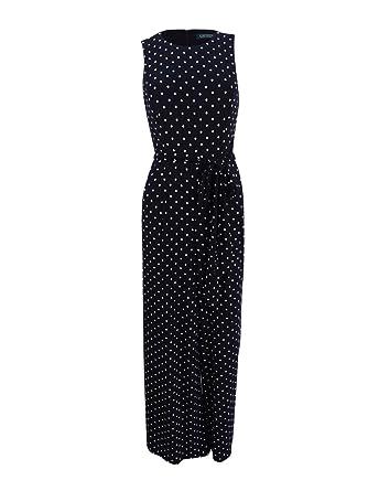 8d8758f3477d Lauren Ralph Lauren Womens Matte Jersey Polka Dot Jumpsuit Black 0