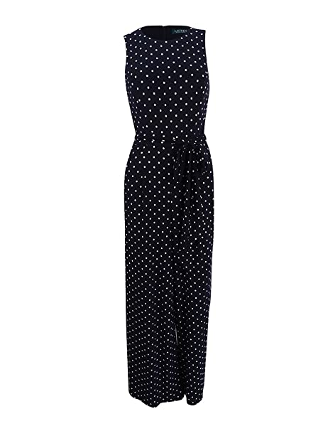 b5b75cfdaeda Lauren Ralph Lauren Womens Matte Jersey Polka Dot Jumpsuit Black 6 ...