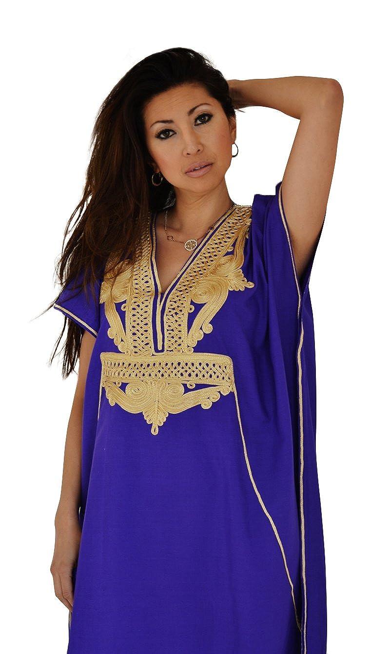 Maison de Marrakech Caftan Femme en Coton marocain Fait Main Tendance  Couleur Violet Marine avec Or 7d51bc812e7