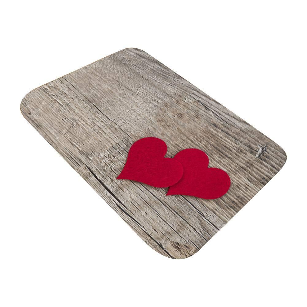 Flannel Fabric Area Rug Home Letter Wooden Design Non-Slip Backing Bath Rug Home Kitchen Floor Mat Multi-Size