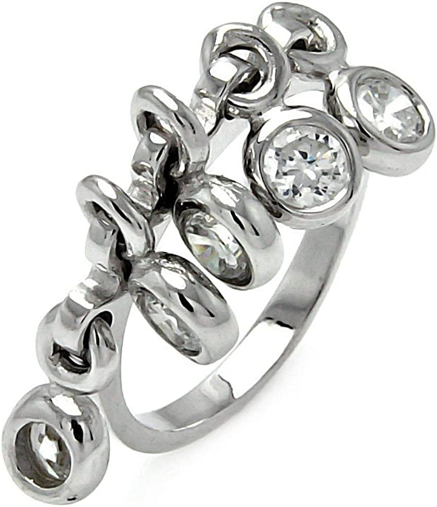 Princess Kylie Bezel Set Cubic Zirconia Hanging Designer Ring Rhodium Plated Sterling Silver