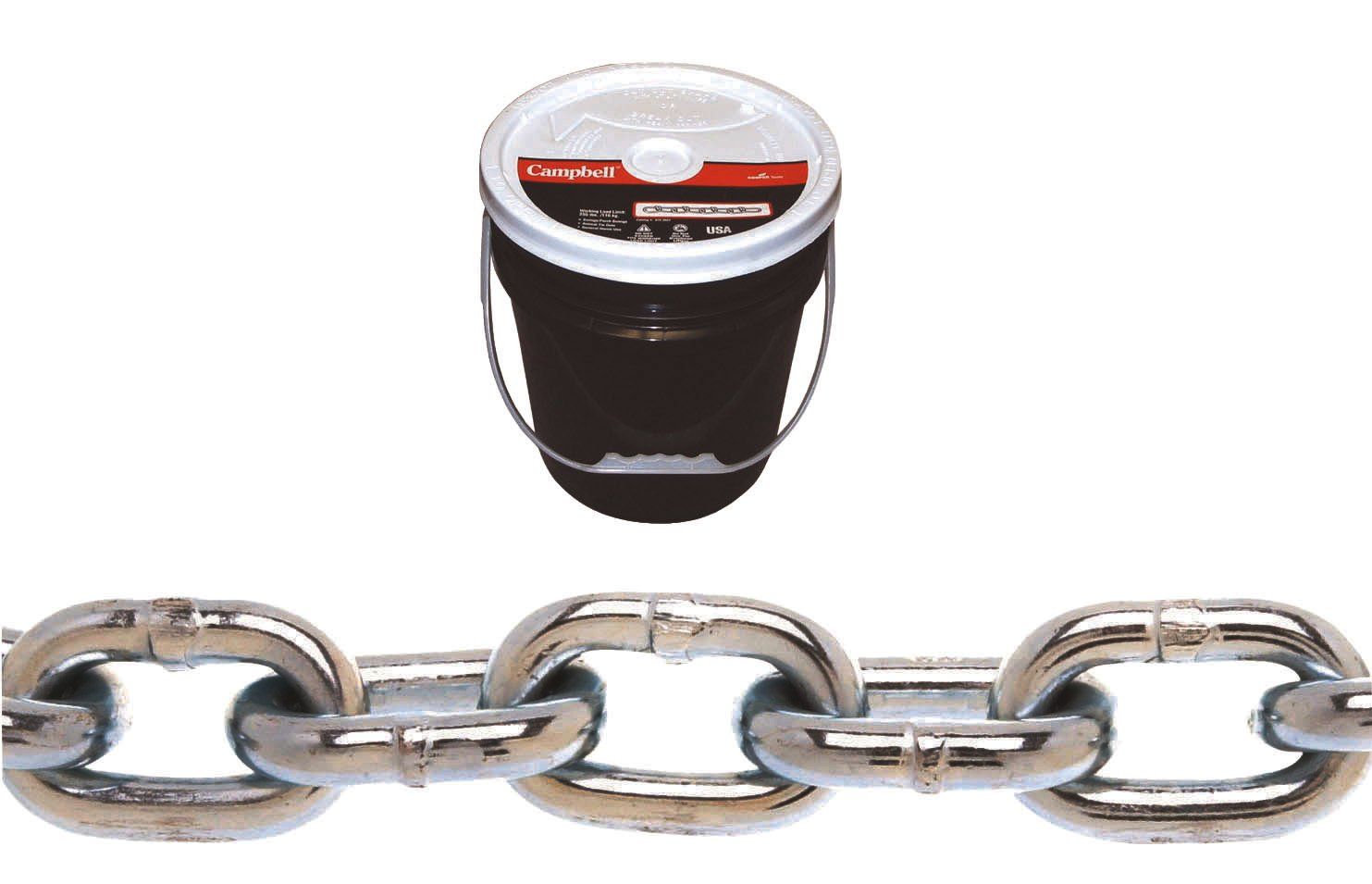CAMPBELL 0140323 System 3 Grade 30 Low Carbon Steel Proof Coil Chain in Round Pail, Zinc Plated, 3/16-Inch Trade, 0.21-Inch Diameter, 250-Feet Length, 800-Pound Load Capacity 3/16 Inch Trade 0.21 Inch Diameter 250' Length 800 lbs. Load Capacity 147432