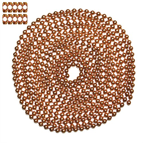 - 10 Foot Length Ball Chain, #10 Size, Copper, & 10 Matching 'B' Couplings