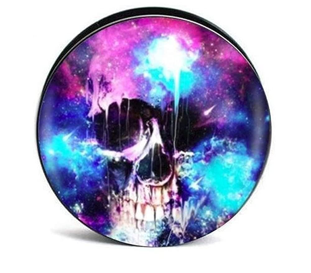 Watercolor Skull Design Acrylic Plugs Gauges Screw Fit (Sold as a pair) FiveoTattoo