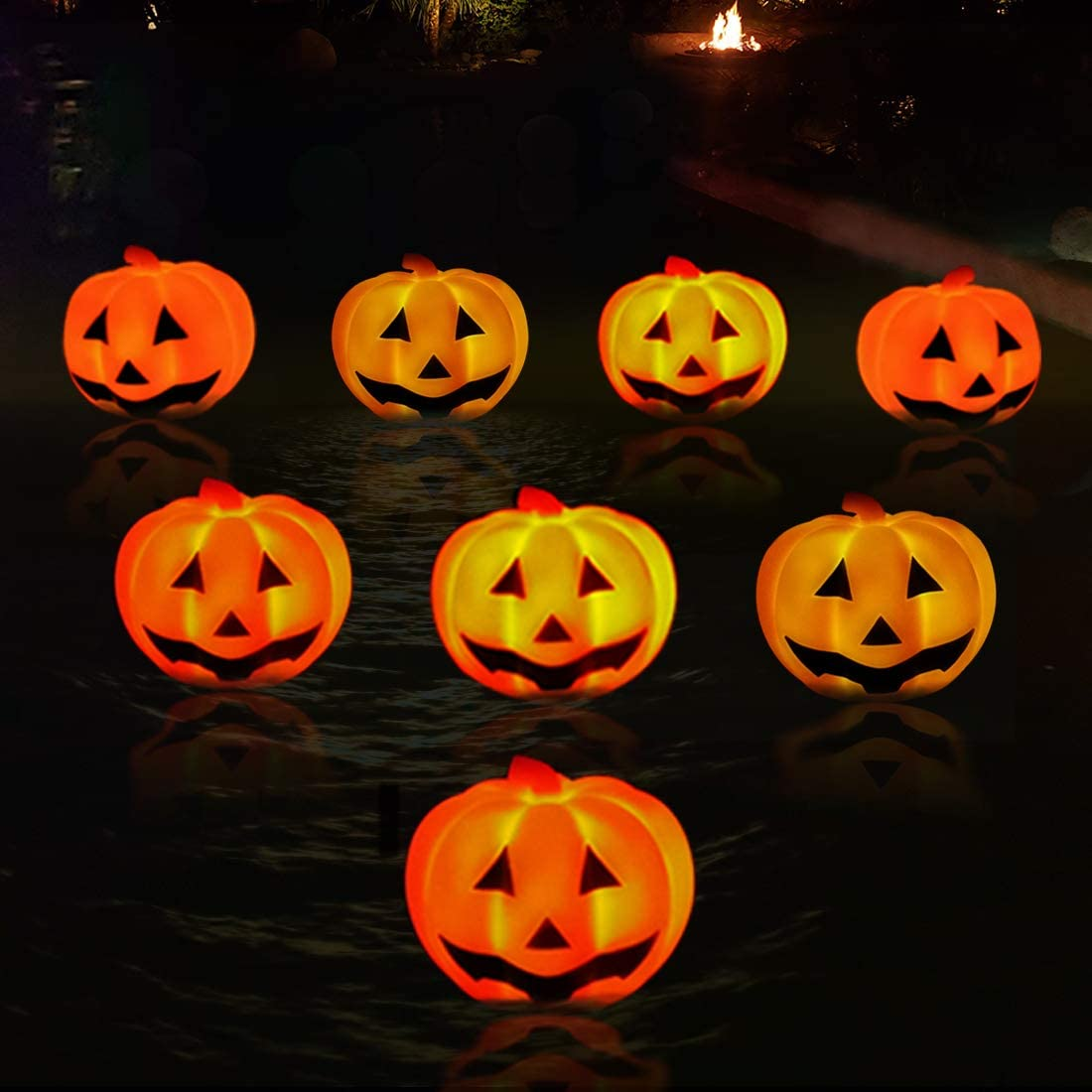 KingSom Pumpkin Night Light, IP67 Waterproof Floating Pool Lights, Flashing Color Changing LED Lamp, Battery Powered Halloween Pumpkin Decor Light for Outdoor/Indoor,Pond,Garden,Bathtub, Party(8PCS)