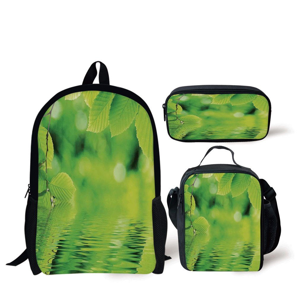 School Lunch Pen Bags,Leaves,Leaves in Water Spa Open Your Chakra with Nature Meditation Ecological Monochrome Photo,Green,Personalized Print