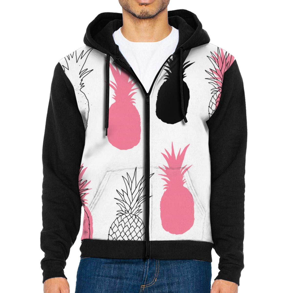 MHBGMYES Black Pink White Abstract Pineapples Lightweight Mans Jacket with Hood Long Sleeved Zippered Outwear