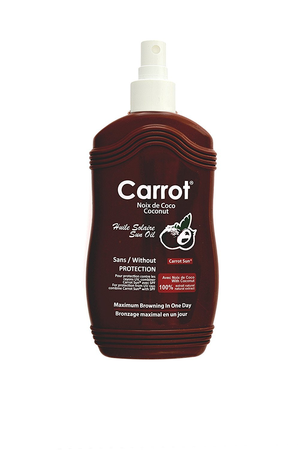 Carrot Sun Coconut Tan Accelerator Spray Oil with Coconut Oil & L-Tyrosine for a GOLDEN tan-FAST! 200ml Sarah Trading