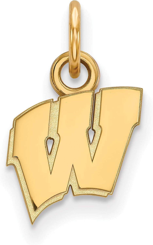 10k Yellow Gold University of Wisconsin Badgers School Letter Logo Pendant 10x10mm