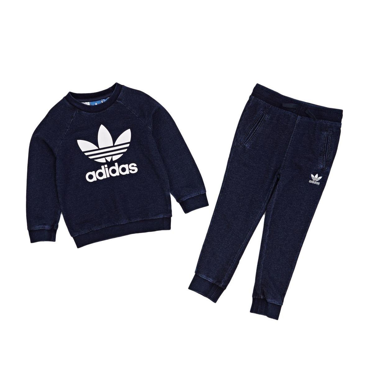 adidas Originals Boys Baby Boys Denim Crew Tracksuit in Navy - 9-12m S95948