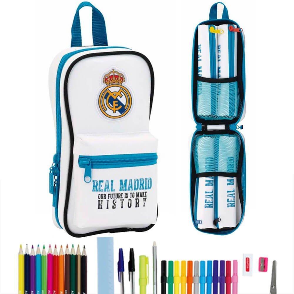 Real Madrid- FC Plumier Forma de Mochila con 4 portatodos llenos (SAFTA 411754747), uacutenico