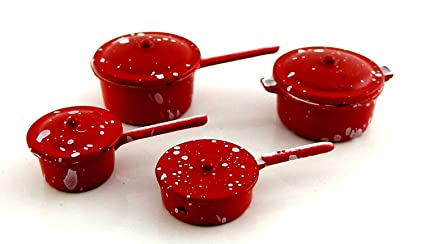 Juego de Ollas y Sartenes Metálicos Color Rojo Miniatura Accesorio para Cocina de casa de Muñecas - 2106R