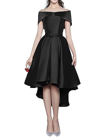 f16ac387a74 Kevins Bridal High Low Short Bridesmaid Dresses Cap Sleeves Off Shoulder  Prom Dress Black Size 2