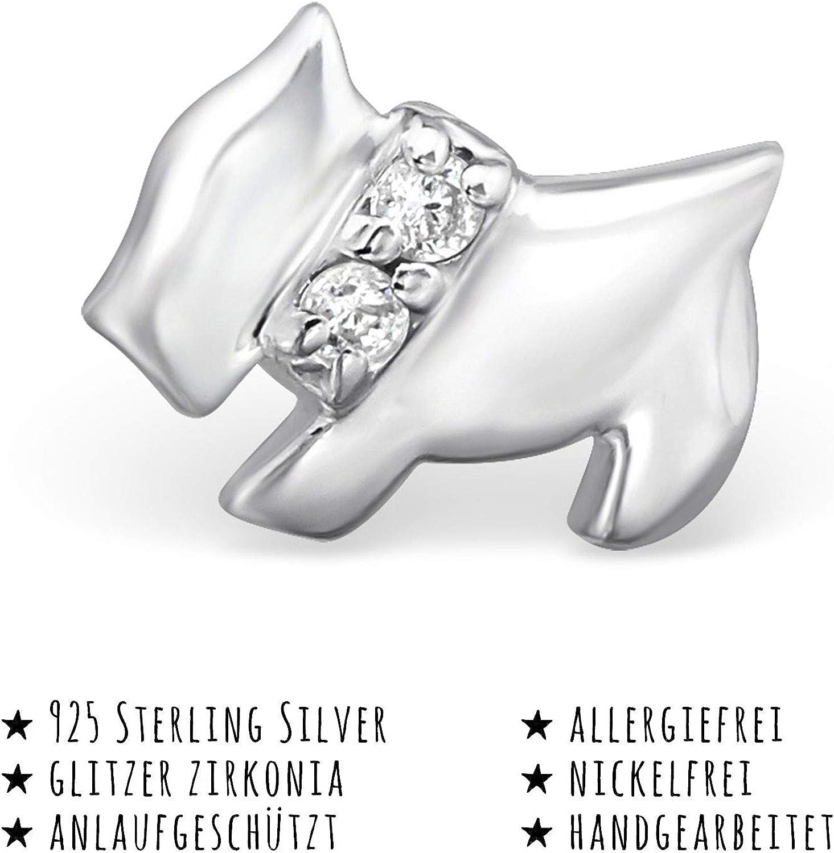 Monkimau Girl Earrings Dog Stud Earrings in 925 Sterling Silver Silver